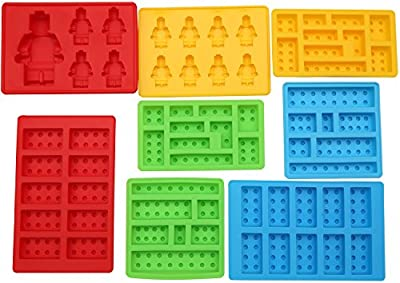 8pc Candy Molds, Chocolate Molds, Ice Molds, Silicone Baking Molds, PREMIUM Silicone Molds- Building Blocks and Robots(Set of 8)