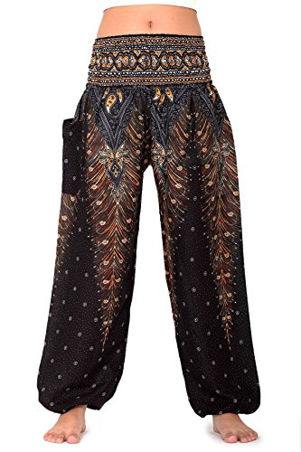 Bangkokpants Women's Yoga Pants Boho Peacock Design Luxury
