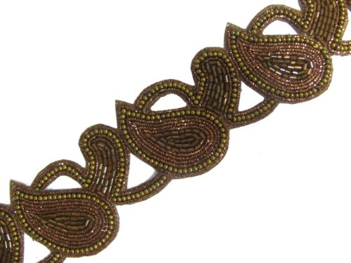 2.25 Yd Copper Beaded Bronze Bullion Motif Ribbon Trim