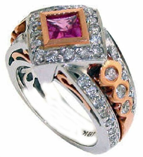 1.70 Carat Tcw Diamond And Pink Sapphire Fashion Ring 18K Two Tone White And Rose Gold Item Fr-130