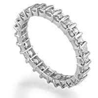 Sterling Silver Princess Cut Cubic Zirconia CZ Accent Eternity Band