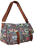 New Womens Girls Oilcloth Canvas Satchel Handbag Ladies Messenger School Crossbody Shoulder Bag in Owl Butterfly Rose Print CB159
