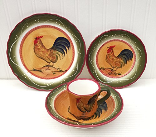 Tuscan Sunshine Country Rooster Hand Painted collection (DINNERWARE SET) (Chicken Dinnerware compare prices)