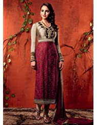 MAROOON WINE COLOR COTTON SATIN STRAIGHT EMBROIDERED SUIT BY KIMORA HEER 7
