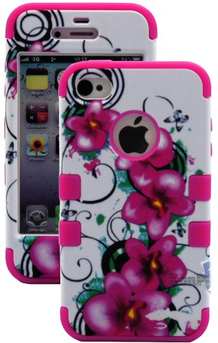 Mylife Rose Pink - Tropical Flowers Series (3 Piece Protective) Hard And Soft Case For The Iphone 4/4S (4G) 4Th Generation Touch Phone (Fitted Front And Back Solid Cover Case + Internal Silicone Gel Rubberized Tough Armor Skin)