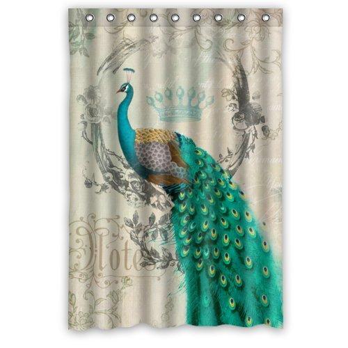 Stylish Living Elegant Vintage Peacock Art Animal Art Bathroom Shower Curtain Liner for Home with Hook 48
