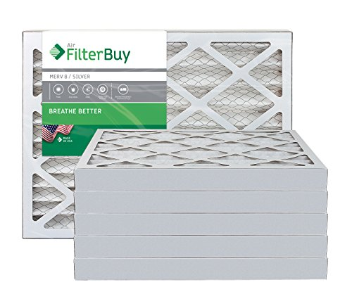 AFB Silver MERV 8 16x24x2 Pleated AC Furnace Air Filter. Pack of 6 Filters. 100% produced in the USA.