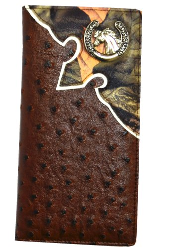 Texas Longhorn Men's Long Wallet in Orstrich/croc Camo Black Beige Brown W015-6 (W015-6 LONGHORN OSTRICH BROWN CAMO) at Amazon.com