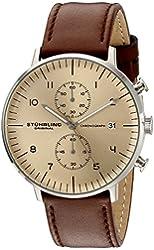 Stuhrling Original Men's 'Monaco' Quartz Chronograph Date Stainless Steel and Leather Dress Watch, 803.03, Brown
