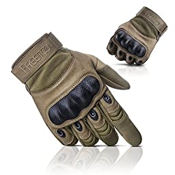 FREETOO® Adjustable Men\'s Tactical Gloves Hard Knuckle Sewn-in Brass Knuckles Reinforced Palm Back Wrist Protect Hand Provide Warm Driving/ Shooting/Sport/Fitness Tan M