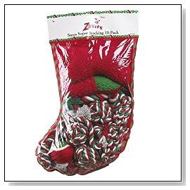 Zanies Santa Super Stocking Dog Toy 10 Pack