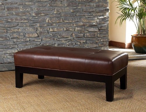Buy Low Price Coffee Table Leather Bench Ottoman Top Grain Leather Button Tufted B000qd10fu