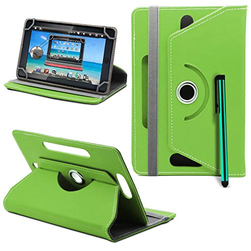 Acer Iconia Tab A1-811 / A1-810 Tablet Neues Design Universelle um 360 Grad drehbare PU-Leder Designer bunte Hülle mit Standfunktion - Cover - Tasche - Grün / Plain Green Von Gadget Giant®
