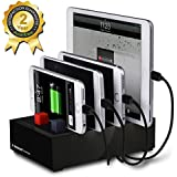 Avantree Multiple Devices Charger & Charging Station Docking 2-in-1 with Cord Organizer, For Smartphones & Tablets - Powerhouse Black