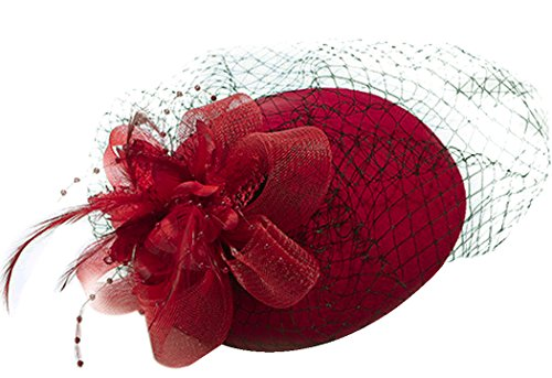 Feather Fascinator Flower Pillbox Hat British Style Bowler Hat for Women Red One Size