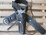 "36"" Black Leather .22 Caliber Gun Belt and Right Handed Tooled Holster Combination"