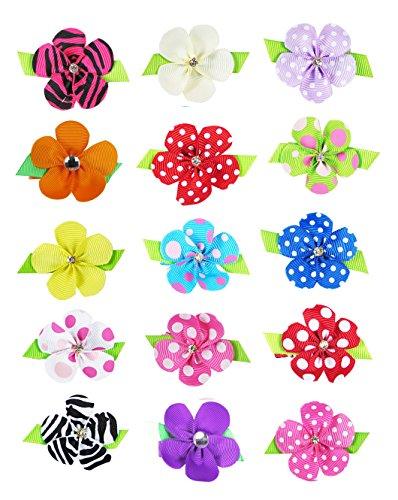 HipGirl Girls Mini Bow Tie, Mini Pinwheel Hair Bow Clips, Barrettes (15pc 1.5