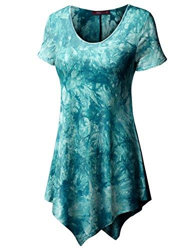 Doublju Womens Short Sleeve Scoop Neck Solid / Tie Dye Tunic Top With Asymmetrical Hem TEAL 2XL