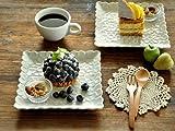 【M'home style】白い食器 プルメリアのスクエアープレート17.8cm ホワイトレベル2