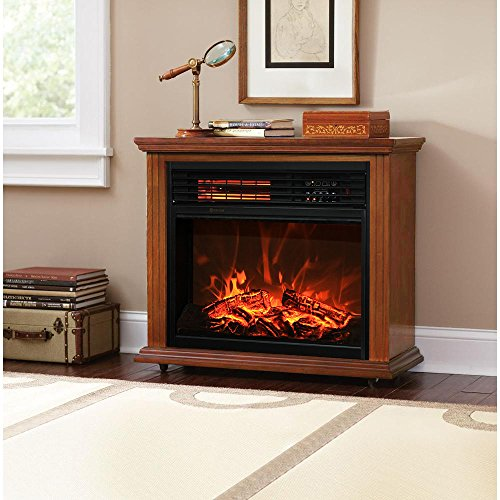 Review Of XtremepowerUS Infrared Quartz Electric Fireplace Heater Oak Finish with Remote Controller