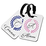 Personalised wedding honeymoon hard plastic luggage tags His and Hers...