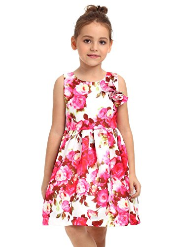 Toddler Girls Summer Dresses with Floral Print 2-11T
