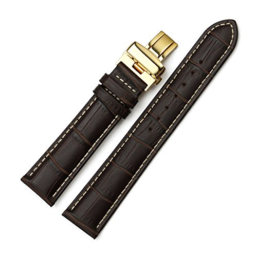 Istrap 21Mm Calfskin Leather Crocodile Grain Padded Watch Band Contrast Stitch - Brown 21