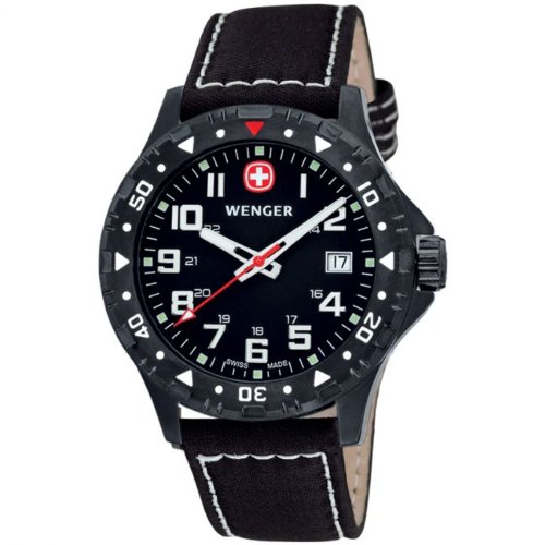 Wenger 'Off Road' Gents Black Dial PVD Leather Strap Watch