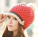 お洒落なツバ付きニット帽子 ポンポン ボンボン 秋冬 カジュアル カラフル ファッション小物・ファッション雑貨 レディース