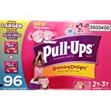 Huggies Pull-ups Girsl Training Pants, Size 2T-3T, 96 Count