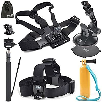 EEEKit 5in1 Accessories Starter Kit for Axess Sports Action Cam,Head Strap,Floaty Grip Hand Pole,Chest Harness,Car Mount and Selfie Stick Monopod Pole
