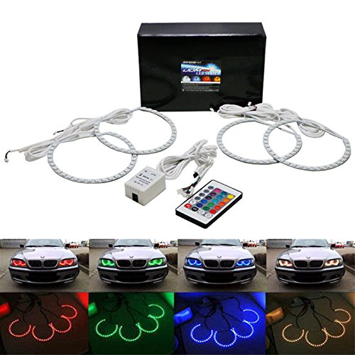 Ijdmtoy Multi-Color 96-Smd Rgb Led Angel Eyes Halo Ring Lighting Kit W/ Remote Control For Bmw E36 E46 E38 E39 3 5 7 Series