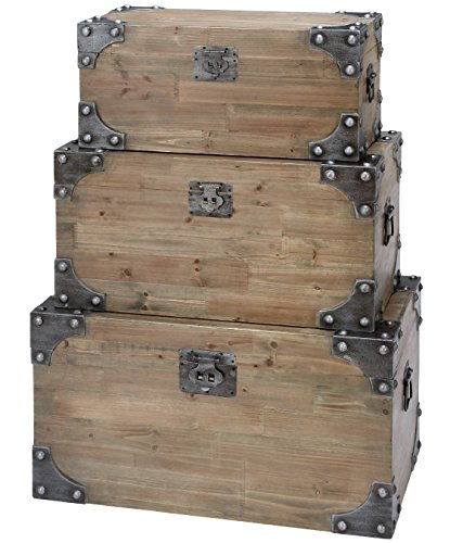 Decorative Rustic Wood Crate Storage Box Chest Trunk, Natural (Small 26-inch) (Wood Storage Box With Lid compare prices)