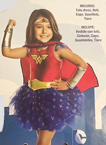 Wonder Woman Tutu Dress Costume ~Size 8/10~ Dress, Belt, Cape, Tiara & Gauntlets