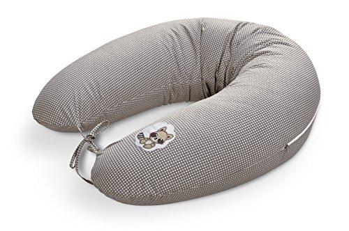 ® Baby Stillkissen Schwangerschaftskissen 170 x 30cm, Füllung bestehend aus Faserbällchen - sehr weich und angenehm. Bezug mit Reißverschluss und hochwertiger Stickerei. (Taupe-Waschbär)