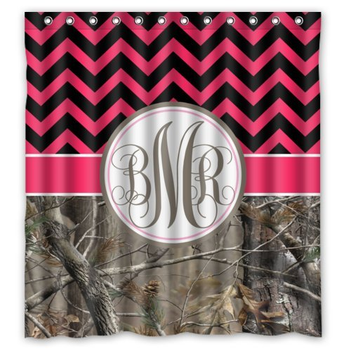 Hot Pink and Black Chevron and Camo Monogram Shower Curtains