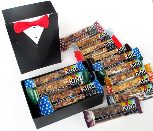 Tuxedo Formal Decorative Gift Box Filled With Kind Brand Natural Health Fruit & Nut Bars Assortment - Quantity 10