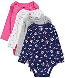 Carter\'s Baby Girls\' 4 Pack Print Bodysuits, Multicolor, 18M