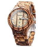 BEWELL ZS - W023A Men Wooden Bangle Quartz Watch with Calendar Display (Brown)