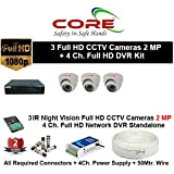 CORE 4-CH FULL HD DVR 2-MP ( 1080P). WITH 1-TB HARD DISK , 2-MP DOME CAMERA 3-PC,4-CH POWER SUPPLY , 3+1 WIRE ROLL, WITH BNC /DC CONNECTORS COMBO PACK.