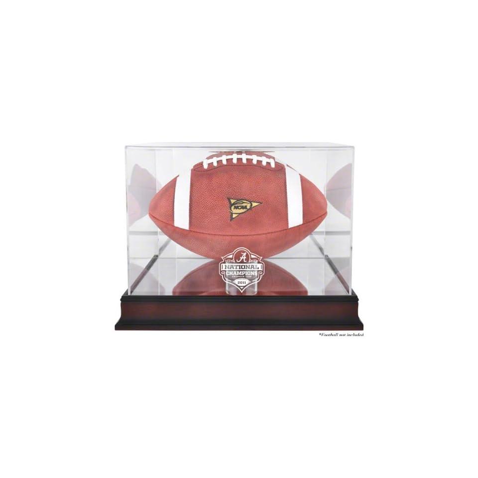 Alabama Crimson Tide Football Display Case  Details 2011 BCS Champions, Mahogany, with Mirror Back