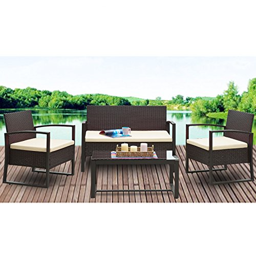 U.Rattan 4PC Wicker Patio Furniture Set Sofa & Table Cushioned Lawn Garden Outdoor Brown (Outdoor Cushioned Bench compare prices)