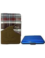 Apki Needs Long Brown Mens Wallet & Striped Blue Colored Credit Card Holder Combo
