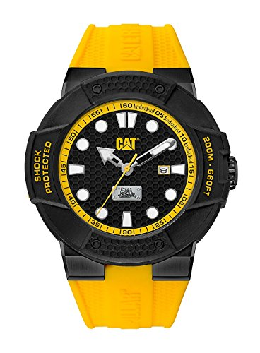 CAT Shockmaster Extra Hard Men's Analog Date Watch Black with Yellow Silicone Strap SE16127117