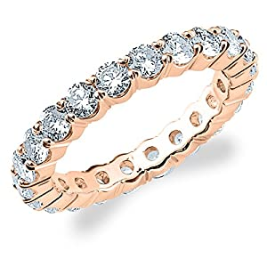 18K Rose Gold Diamond 4 Prong Eternity Ring (3 cttw, G-H Color, SI1-SI2 Clarity) Size 8