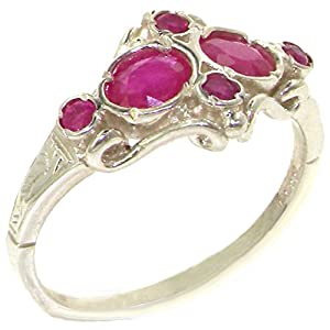 VINTAGE Design 925 Solid Sterling Silver Genuine Natural Ruby Ring - Size 4 - Finger Sizes 4 to 12 Available