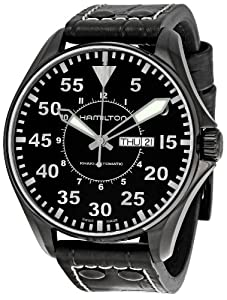 Hamilton Men's H64785835 Khaki King Pilot Black Dial Watch by Hamilton