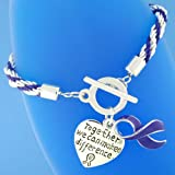 "12 Purple Ribbon ""Together we can make a difference"" Charm Bracelets - Rope Style - Great for Relay for Life Cancer or other Awareness Event Fundraising Fundraiser"