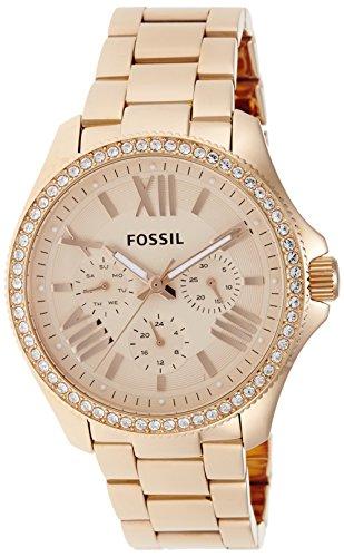 Fossil AM4483 - Reloj analógico de cuarzo para mujer con correa de acero inoxidable bañado, color rosa