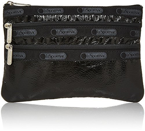 lesportsac-3-zip-cosmetic-black-crinkle-patent-by-lesportsac